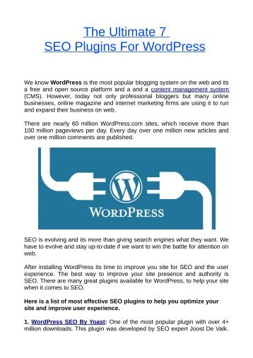 The Ultimate 7 SEO Plugins For WordPress