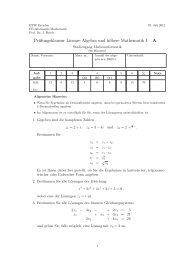Prüfungsklausur Lineare Algebra und höhere Mathematik I A