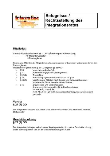 Befugnisse / Rechtsstellung des Integrationsrates - Wir Ennepetaler