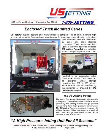 Enclosed Truck Mounted Series - US Jetting