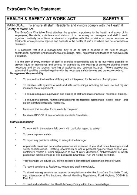 ExtraCare Policy Statement HEALTH & SAFETY AT WORK ACT ...