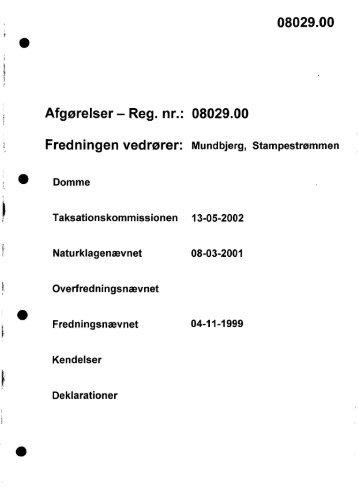 08029.00 t Afgørelser - Reg. nr.: 08029.00 - Naturstyrelsen