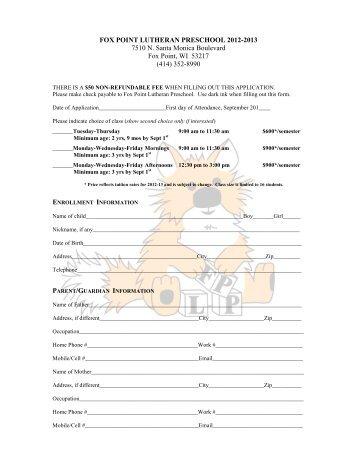 new member information form fox point lutheran church