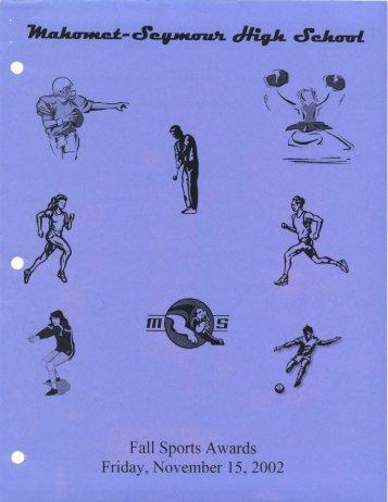 Fall Sports Awards Friday, November 15, 2002