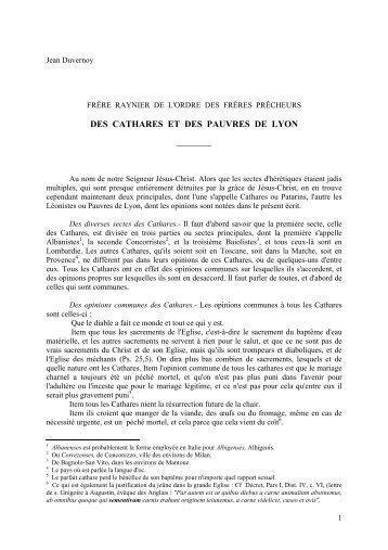 DES CATHARES ET DES PAUVRES DE LYON - Jean Duvernoy