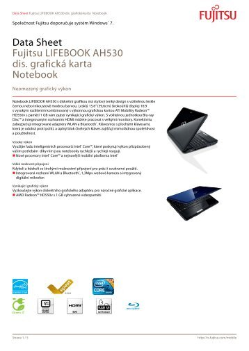 Data Sheet Fujitsu LIFEBOOK AH530 dis. grafická karta Notebook