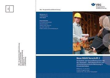 Neue DGUV Vorschrift 2 - Fachgruppe Zeitarbeit - VDSI