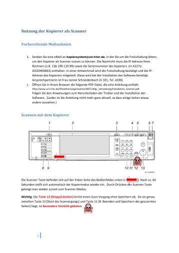 Nutzung der Kopierer als Scanner - auf der Homepage des Fachs ...
