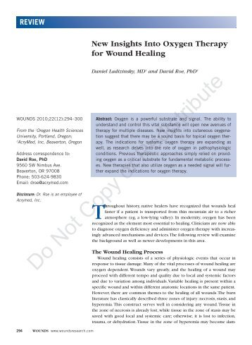 New Insights Into Oxygen Therapy for Wound Healing - Wounds