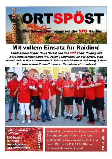 Ortspöst Herbst 2012 - SPÖ Raiding