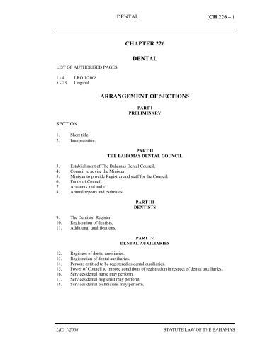 Dental Act - The Bahamas Laws On-Line