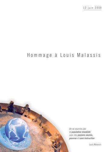 Hommage à Louis Malassis - 12 Juin 08 - Agropolis International