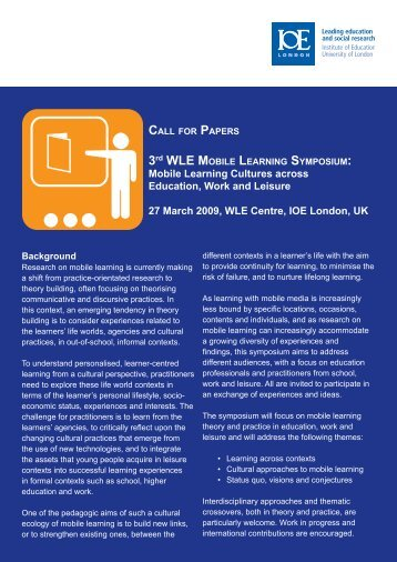 Call for papers (pdf) - The London Mobile Learning Group
