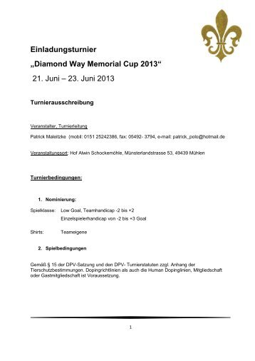 Diamond Way Memorial Cup 2013 - DPV Deutscher Polo Verband eV