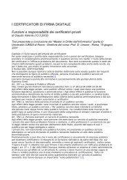 I CERTIFICATORI DI FIRMA DIGITALE Funzioni e ... - Globaltrust