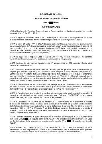 Delibera 60/12/CRL - Corecom Lazio