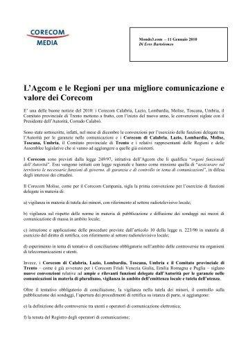 L'Agcom e le Regioni per una migliore comunicazione e ... - Corecom