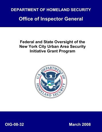 Federal and State Oversight of the New York City Urban Area ...