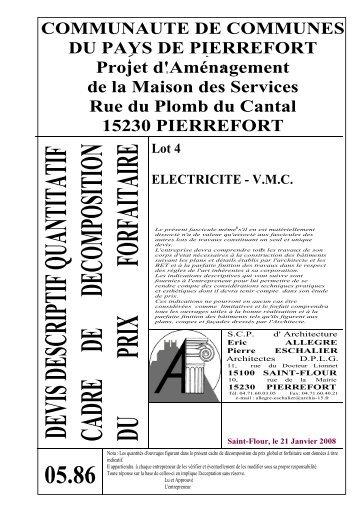 Descriptif Quantitatif Lot Plomberie Sanitaire Chauffage Central Fuel - Devis descriptif d une maison