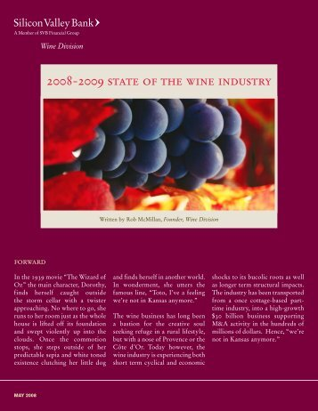 2008-2009 state of the wine industry - Silicon Valley Bank