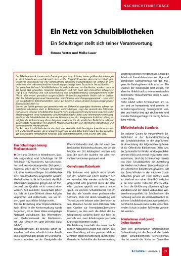 01/2008 Ein Netz von Schulbibliotheken - IMeNS - Lahn-Dill-Kreis