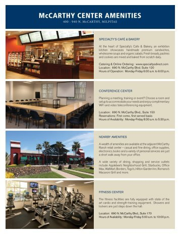 McCARTHY CENTER AMENITIES - IrvineCompanyOffice.com
