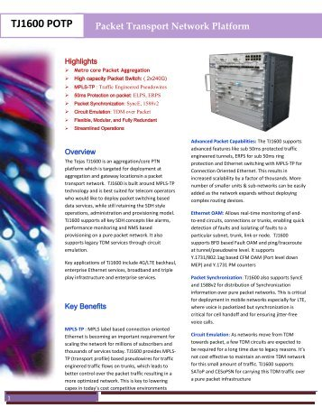 View product brochure - Tejas Networks
