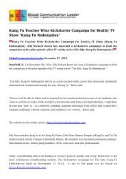 Kung Fu Teacher Wins Kickstarter Campaign for Reality TV Show