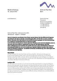 Medienmitteilung Jahresvorschau 2012 - Zentrum Paul Klee