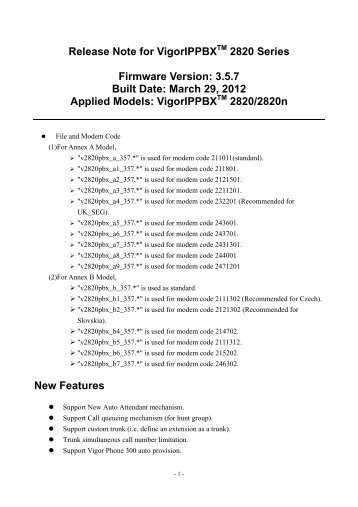 DrayTek VigorIPPBX 2820 (Annex A 2211201) IP PBX Router Update
