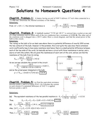 Solutions to Homework Questions 4
