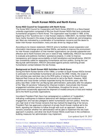 South Korean NGOs and North Korea - National Committee on ...