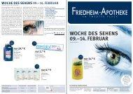 WOCHE DES SEHENS 09.–14. FEBRUAR - Friedheim Apotheke