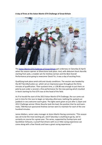 A day of firsts at the Aston Martin GT4 Challenge of Great Britain The ...