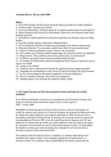 Artículos Breves. Mes de Abril 2006 Índice: 1.- El Comité Europeo ...