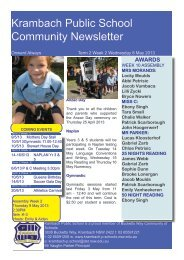 Term 2 Week 2 8 May 2013 - Krambach Public School