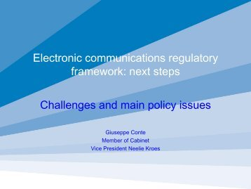 Electronic Communications regulatory framework.Next steps