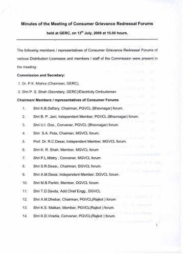 Minutes of the Meeting of Consumer Grievance Redressal ... - GERC
