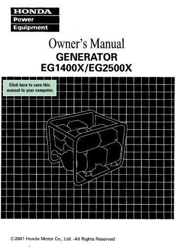 Owner's Manual - Electric Generators