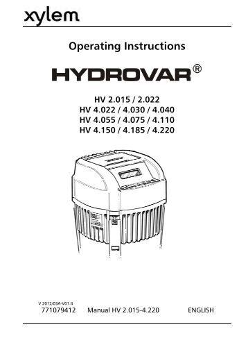 Hydrovar instruction manual