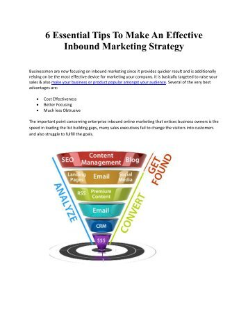 6 Essential Tips To Make An Effective Inbound Marketing Strategy