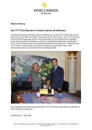Der 777'777ste Besucher im Swiss Casinos Schaffhausen