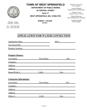 Water Connection Application - West Springfield