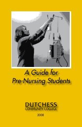 A Guide for Pre-Nursing Students - Dutchess Community College