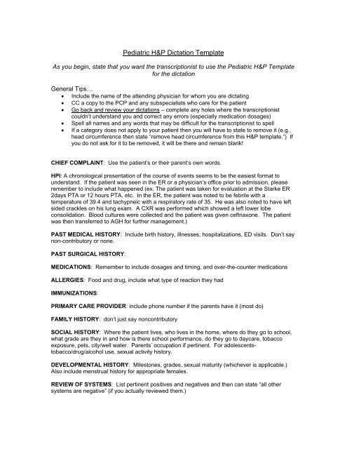 Pediatric HP Dictation Template