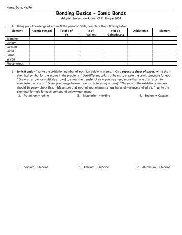 Section B Ionic Bonds Worksheet: Section B  Ionic Bonds AN,