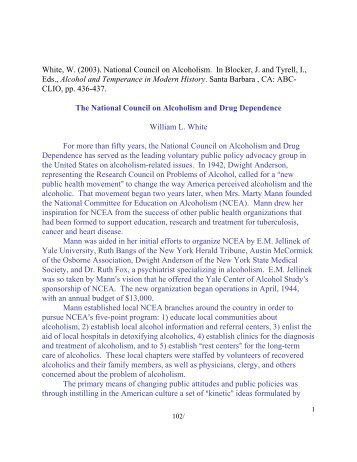 The National Council on Alcoholism and Drug ... - William L. White