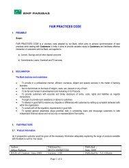 FAIR PRACTICE CODE POLICY DOC - BNP Paribas