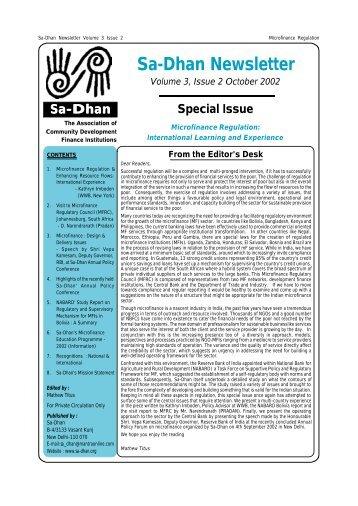 Sa-Dhan Newsletter