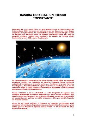 BASURA ESPACIAL: UN RIESGO IMPORTANTE - Casanchi